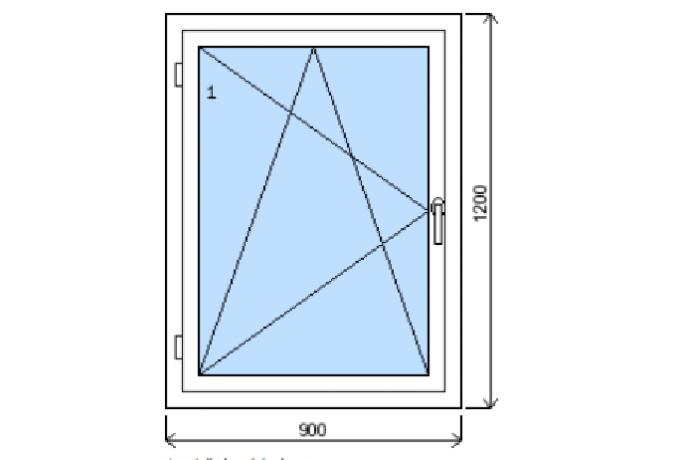 Okno š.900/v.1200 bílá/zlatý dub