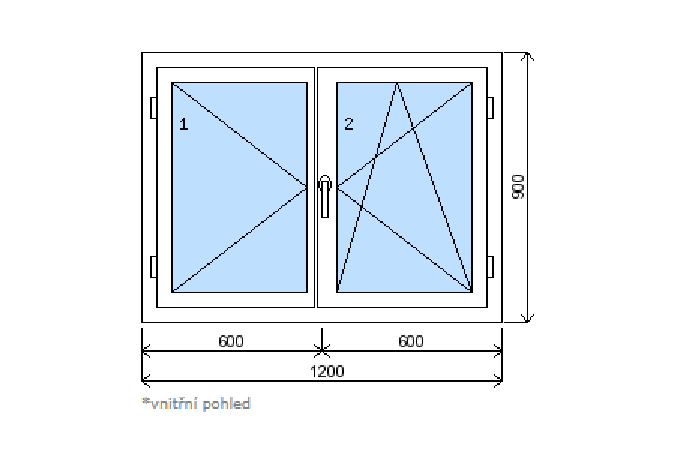 Okno plastové š.1200/v.900 bílá/zlatý dub, dvoukřídlé