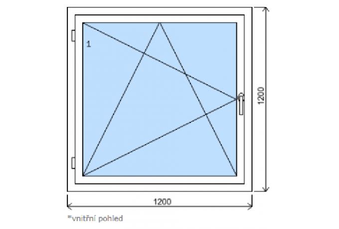 Okno š.1200/v.1200  bílá/zlatý dub