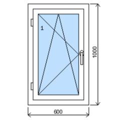 Okno plastové š.600/v.1000, bílá/zlatý dub, levé