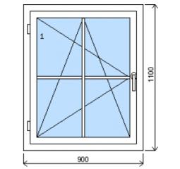 Okno plastové š.900/v.1100 bílá/zlatý dub mřížka