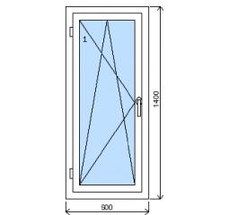 Okno plastové š.600/v.1400, bílá/bílá, levé