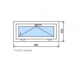 Okno plastové š.900/v.400 bílá/zlatý dub výklopné