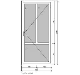 Vchodové dveře š.980/v.2080 pravé, bílá/bílá - plné, členěné