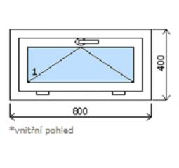 Okno plastové š.800/v.400, bílá/bílá, výklopné