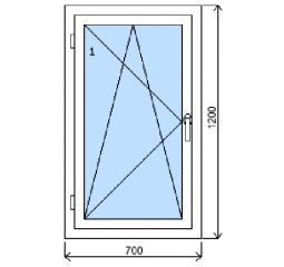 Okno plastové š.700/v.1200, bílá/bílá, levé