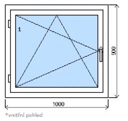 Okno plastové š.1000/v.900, bílá/zlatý dub, levé