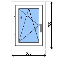 Okno plastové š.500/v.700, bílá/zlatý dub, levé