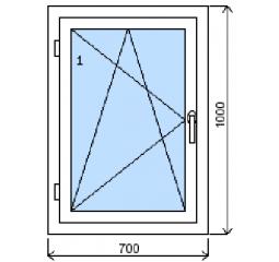 Okno plastové š.700/v.1000, bílá/bílá, levé