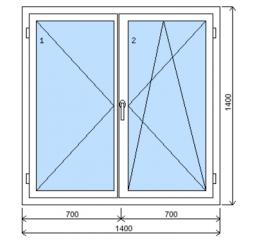 Okno plastové š.1400/v.1400, bílá/zlatý dub, dvoukřídlé