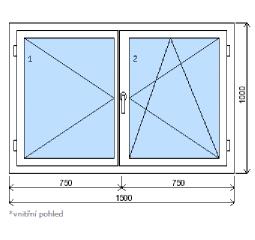 Okno plastové š.1500/v.1000 bílá/zlatý dub, dvoukřídlé