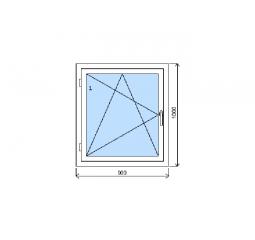 Okno plastové š.900/v.1000 bílá/zlatý dub