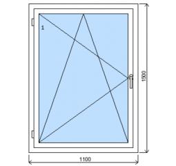 Okno plastové š.1100/v.1500, bílá/zlatý dub, levé