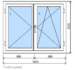 Okno plastové š.1200/v.1000 bílá/zlatý dub, dvoukřídlé