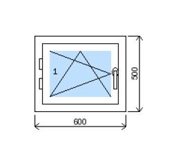 Okno plastové š.600/v.500, bílá/zlatý dub, levé