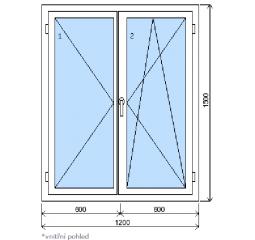 Okno plastové š.1200/v.1500 bílá/zlatý dub, dvoukřídlé
