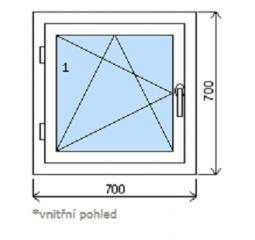 Okno plastové š.700/v.700 bílá/bílá