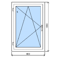 Okno plastové š.800/v.1200, bílá/bílá, levé
