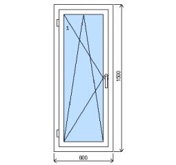 Okno plastové š.600/v.1500, bílá/bílá, levé