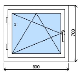 Okno plastové š.800/v.700, bílá/bílá, levé