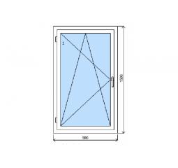 Okno plastové š.900/v.1500, bílá/zlatý dub, levé
