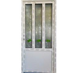 Vchodové dveře š.980/v.2080 pravé, bílá/bílá - 3 dlouhá skla