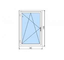 Okno plastové š.900/v.1400, bílá/zlatý dub, levé