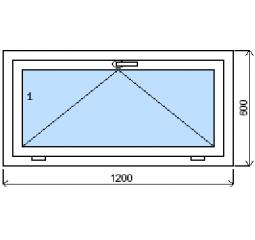 Okno plastové š.1200/v.600 bílá/zlatý dub výklopné