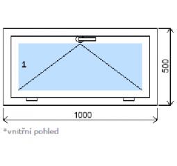 Okno plastové š.1000/v.500, bílá/bílá, výklopné