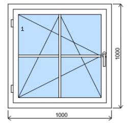 Okno plastové š.1000/v.1000 bílá/zlatý dub mřížka