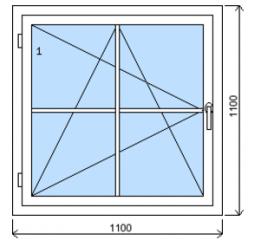 Okno plastové š.1100/v.1100 bílá/zlatý dub mřížka