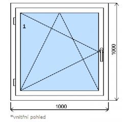 Okno plastové š.1000/v.1000 bílá/zlatý dub, levé