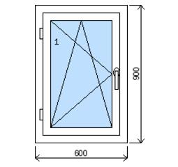 Okno plastové š.600/v.900, bílá/zlatý dub, levé