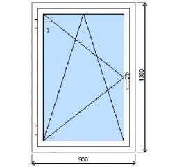 Okno plastové š.900/v.1300, bílá/bílá, levé