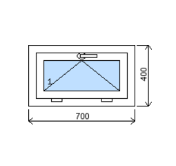 Okno plastové š.700/v.400, bílá/zlatý dub, výklopné