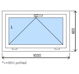 Okno plastové š.1000/v.600 bílá/zlatý dub výklopné