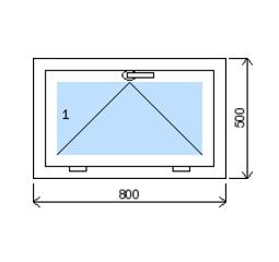 Okno plastové š.800/v.500, bílá/bílá, výklopné
