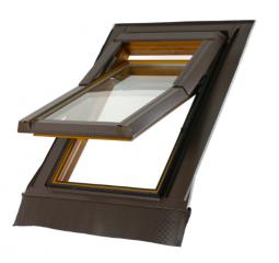 Střešní okno plastové š.780/v.1400, bílá/hnědá