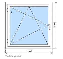 Okno plastové š.1100/v.1100, bílá/bílá, levé