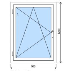 Okno plastové .900/v.1200, bílá/zlatý dub, levé
