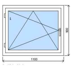 Okno plastové š.1100/v.900, bílá/zlatý dub, levé
