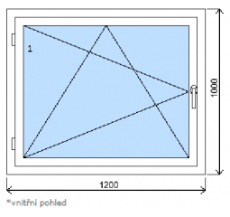 Okno plastové š.1200/v.1000, bílá/zlatý dub, levé
