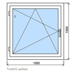 Okno plastové š.1000/v.1000, bílá/bílá, levé