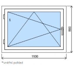 Okno plastové š.1100/v.800 bílá/bílá, levé