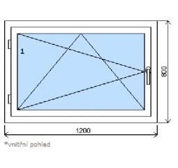 Okno plastové š.1200/v.800, bílá/zlatý dub, levé