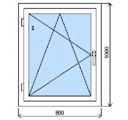 Okno plastové š.800/v.1000, bílá/bílá, levé