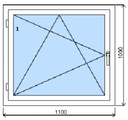 Okno plastové š.1100/v.1000, bílá/bílá, levé