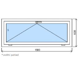 Okno plastové š.1500/v.600 bílá/bílá výklopné