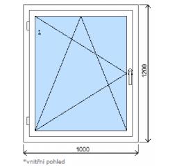 Okno plastové š.1000/v.1200 bílá/zlatý dub