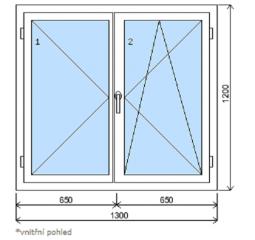 Okno plastové š.1300/v.1200, bílá/zlatý dub, dvoukřídlé